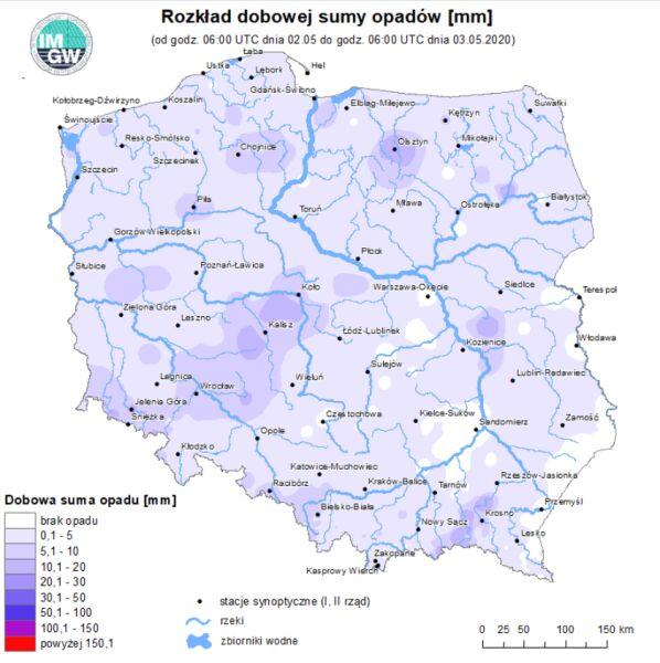 Rozkład dobowej sumy opadów od 02.05 godziny 6 do 03.05 godz. 6 (IMGW)