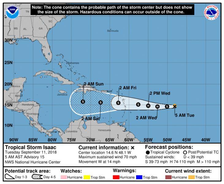 Prognozowana ścieżka przejścia burzy tropikalnej Isaac (NHC)
