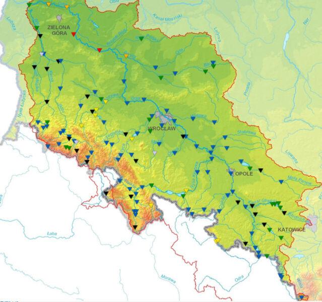 Sytuacja hydrologiczna na górnej i środkowej Odrze wg stanu na godz. 12 (IMGW)