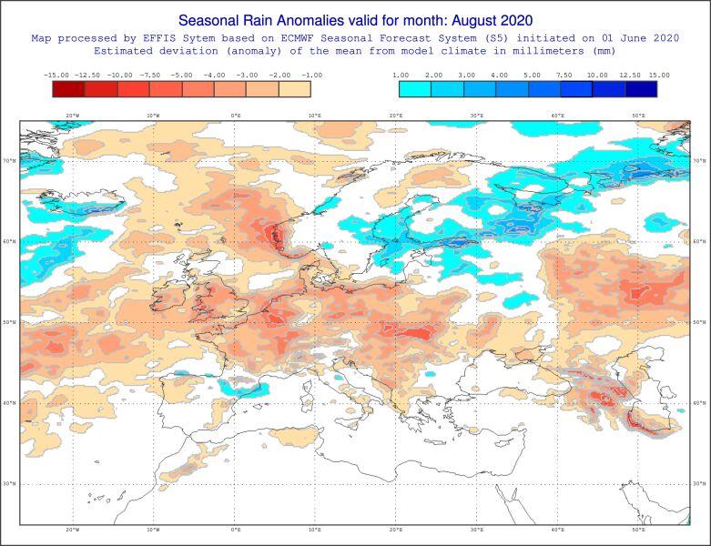 Prognoza odchylenia opadów od normy wieloletniej w sierpniu (ECMWF)
