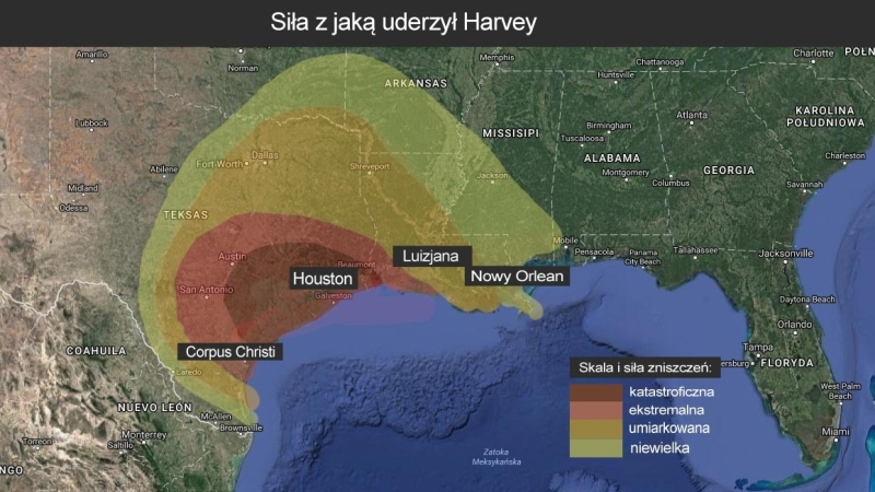 Z jaką siłą uderzył Huragan? (Google Maps za Accu Weather)